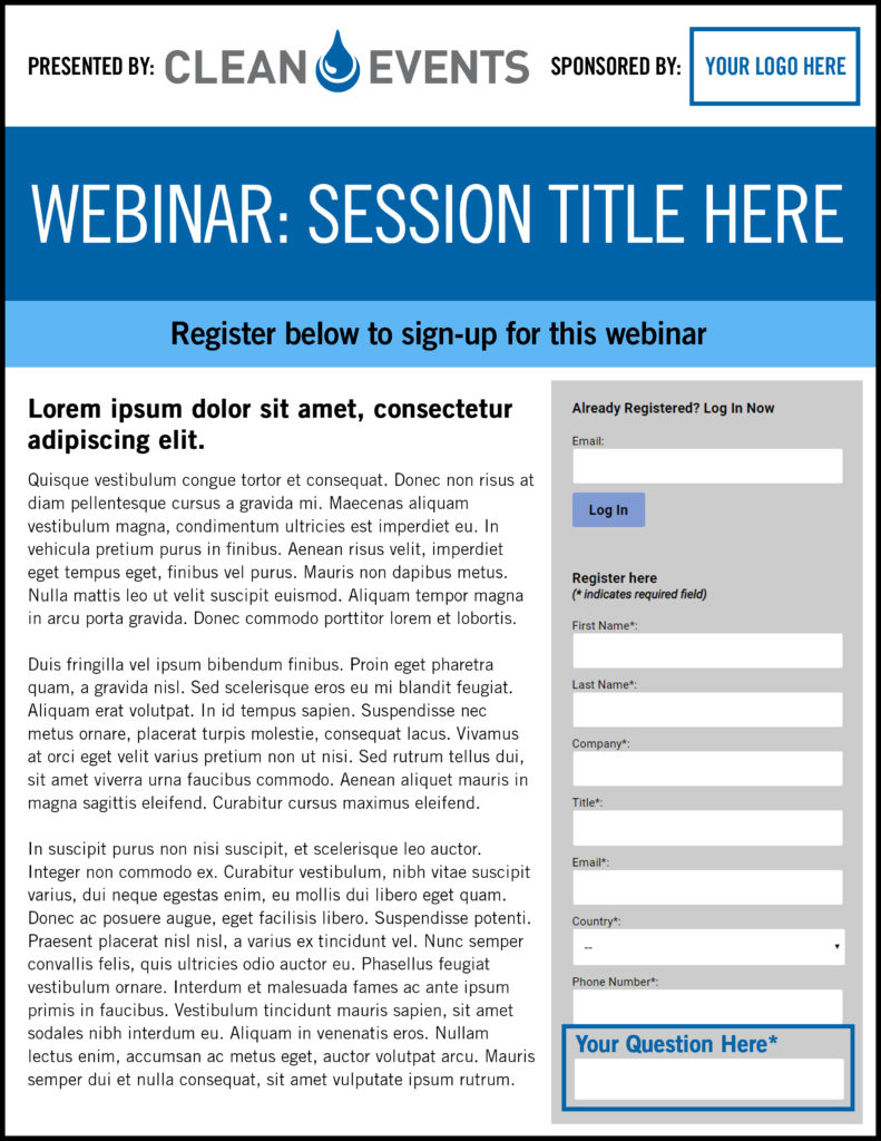 CLEAN Event Webinar Opportunity